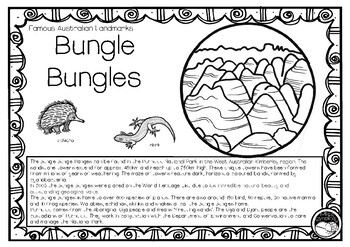BUNGLE BUNGLES (an Australian landmark) 1 pg info and