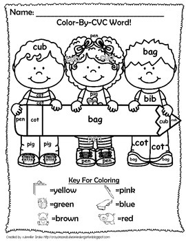 Back To School 'Color By CVC Word!' ~ A Phonics Approach