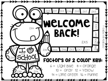 Back To School Multiplication 2-12 Color-By-Number by
