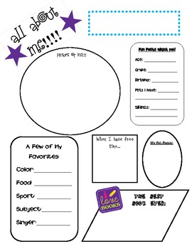 Back to School: All About Me Activity Sheet FREEBIE by