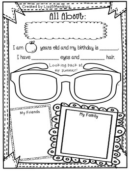Back to School All About Me Activity Sheets for Upper