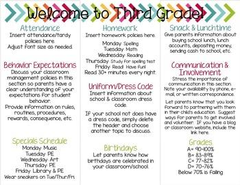 Back To School Brochure EDITABLE Bright Chalkboard Theme