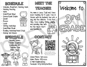 Back to School Brochure (FULLY EDITABLE) Color and B/W by