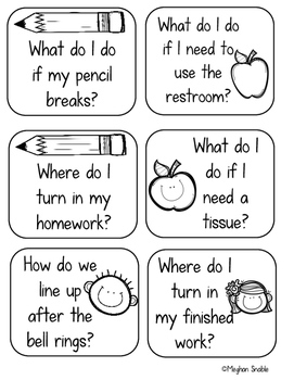 Back to School Classroom Procedure Task Cards- Editable