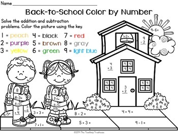 Back to School Color by Number, Addition & Subtraction