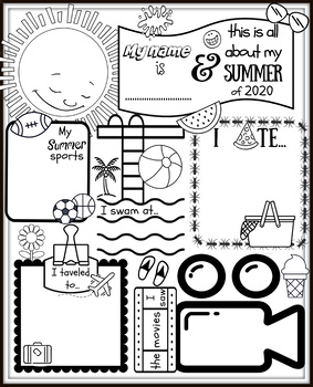 Back to School Coloring Activity: All About My Summer of