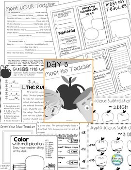 Back to School First 5 Days ~ Themed activities First Week