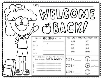 Back to School: First Day Morning Work by JH Lesson Design