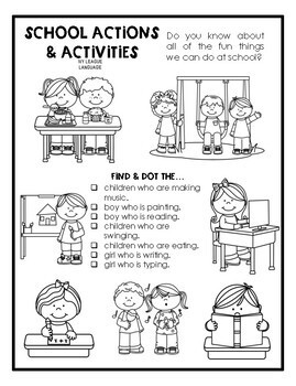 Receptive & Expressive Language Worksheets: Back to School