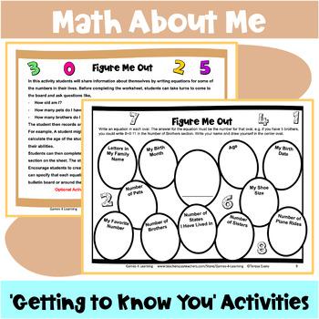 Back to School Math Activities: Back to School Activities