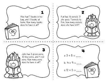Back to School Math Task Cards (2nd grade) by Teaching