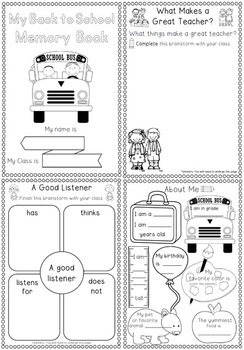 Back to School Activities Memory Book by Clever Classroom
