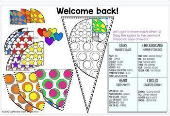 Back to School Math Pennant and Glyph Activity by