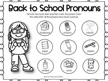 Back to School Pronoun Smash Mats & Coloring Sheets by