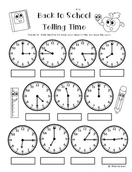 Back to School Telling Time (to the quarter hour) Practice