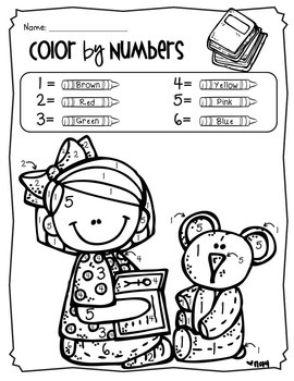 Color by Number + Coloring Pages, Back to School Theme