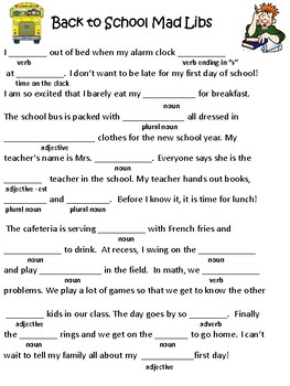 Back To School Mad Libs Fun By Little House Of Lessons TpT