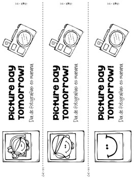 Backpack Reminder- Picture Day (English / Spanish) by