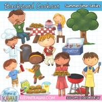 Backyard Cookout Clipart, Backyard BBQ Clip Art, Summer ...