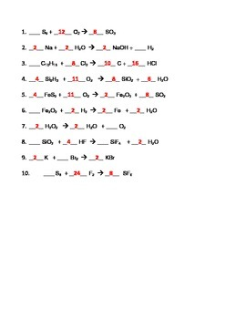 Balancing Chemical Equations Worksheets (Combo) by