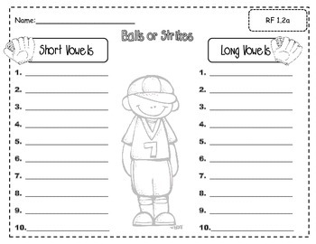 Ball or Strike (Short vowel and long vowel sorting game
