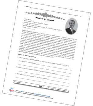 Barack Obama Grades 3–5 Free Printable by Carson Dellosa