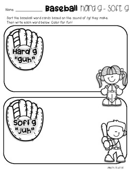 Baseball Kids: Hard G / Soft G Card Sort and Practice by
