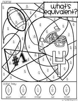 Football Simplify Fractions Coloring page (no prep) by My