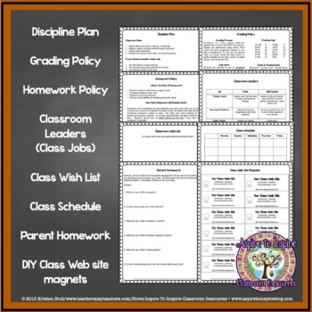 Basic Back To School Parent Welcome Packet Editable TpT