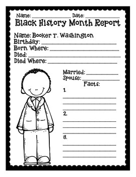 Basic Black History Month Reports By Mrs P S Special Education Classroom