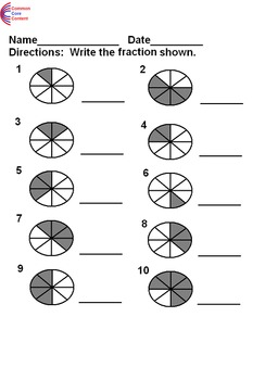 Basic Fractions Worksheets 3.NF.A.1, 4.NF.B.3a, 4.NF.B.3b