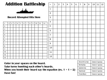 Basic Math Fact Battleship (Addition, Subtraction