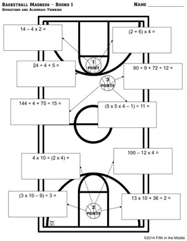 EDITABLE Basketball Madness Differentiated CCSS Math