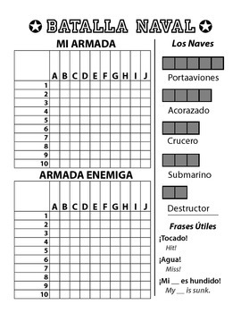 Batalla Naval - Spanish Battleship Game - Letters & Numbers | TpT