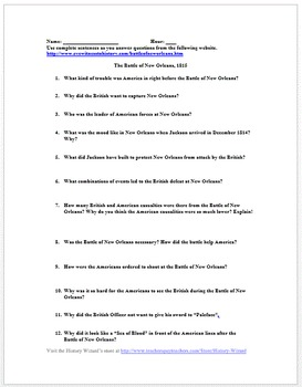 War of 1812 Primary Source Worksheet: Battle of New