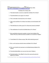 War of 1812 Primary Source Worksheet: Battle of New ...