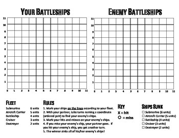 Battleship: Play with Ordered Pairs on First-Quadrant
