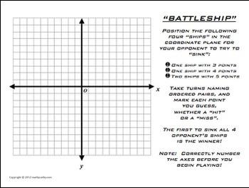 Battleship Plotting Points Coordinate Plane Math