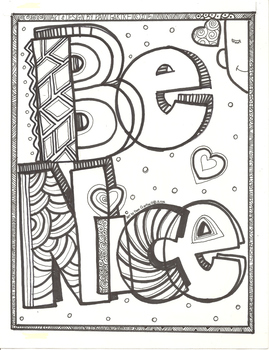 Be Nice Character Building Coloring Sheet by Ms Gartrell's