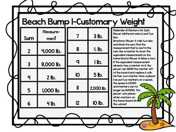 Beach Bump-Two Games for Converting Customary Units of