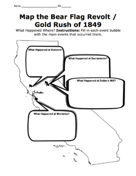 California Bear Flag Revolt Map Activity / Gold Rush of