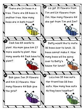 Bee Word Problem Task Cards using 2-Digit Addition and