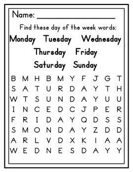 Word Searches for Beginners (Colors, Days of the Week