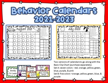 Behavior Clip Chart Calendars for 2019-2020 (Print and Go