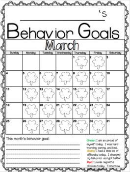 Behavior Goals Calendar 2019-2020 August-June by Crazy for