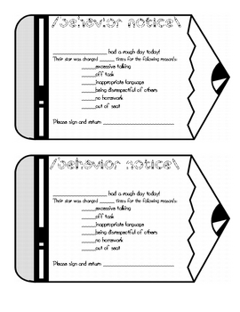 Behavior Notice for Elementary Classroom by Stephanie