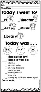 Behavior Report for Library and Special's Classes by