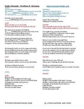 Maluma Lyrics English : maluma, lyrics, english, Bella, (Remix), Wolfine, Maluma, Present, Participle, Lengua, Cultura