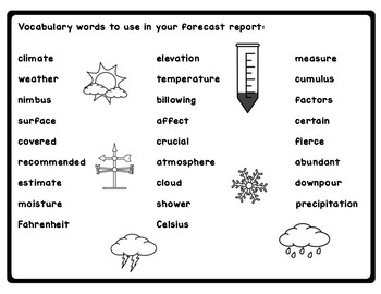 Benchmark Advance 3rd Grade Unit 8 Meteorologist Project