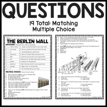 Cold War- Berlin Wall Reading Comprehension Worksheet DBQ